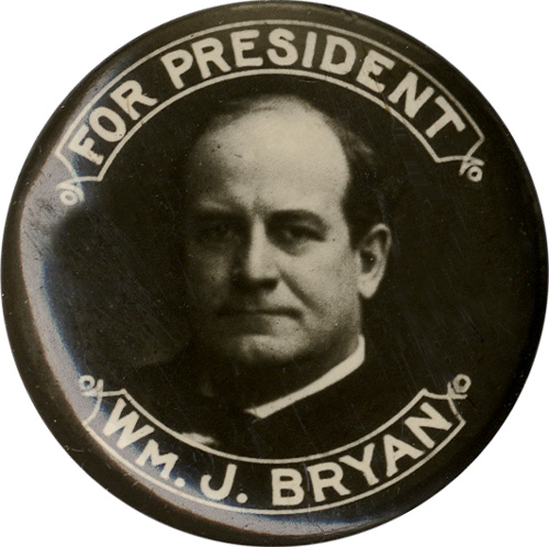 William Jennings Bryan: Classic FOR PRESIDENT photo button
