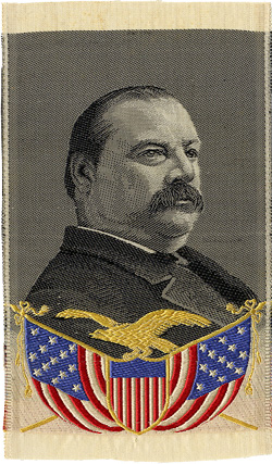 Grover Cleveland: Finely woven silk campaign portrait ribbon