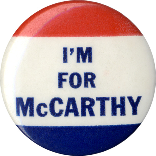 Joseph McCarthy: I'M FOR McCARTHY U.S. Senate button (Wisconsin, 1952)