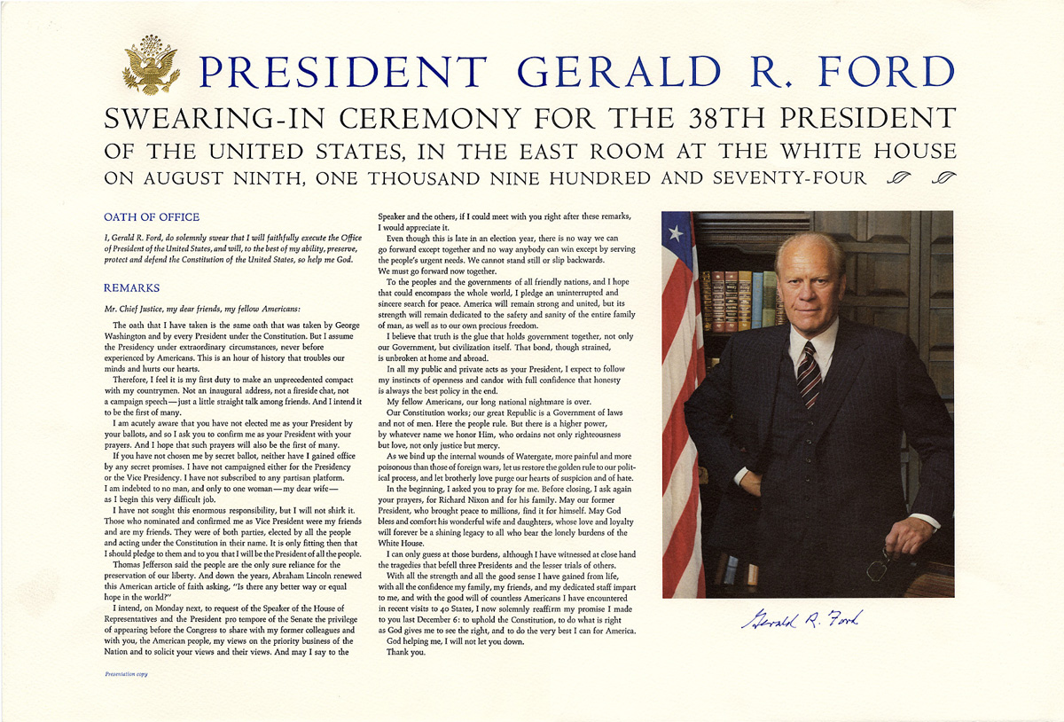 Gerald R. Ford Swearing-In Ceremony Poster **SIGNED**