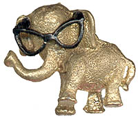 Barry Goldwater: Elephant with eyeglasses lapel pin