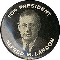 Alfred M. Landon: FOR PRESIDENT picture button