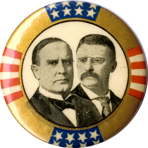 McKinley and Roosevelt: Classic stars-and-stripes border jugate pinback