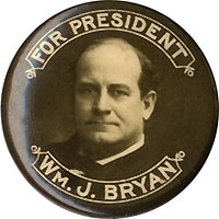 William J. Bryan: Classic FOR PRESIDENT photo portrait button
