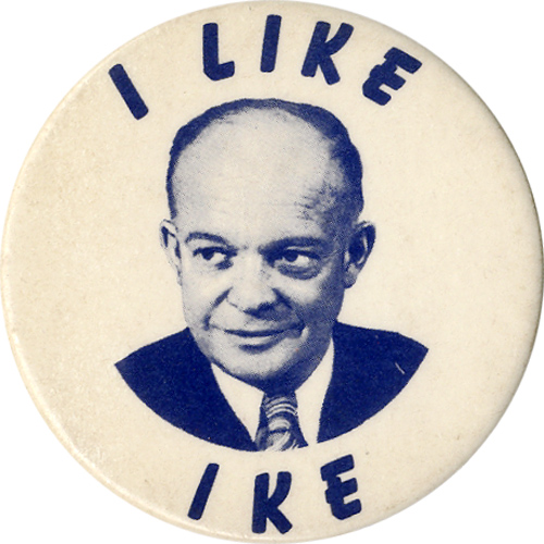 Dwight Eisenhower: Uncommon I LIKE IKE picture button