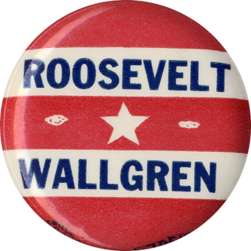 Franklin Roosevelt: Monrad Wallgren Washington governor coattail button