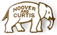 Hoover and Curtis: Enamel elephant lapel pin