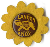 Landon and Knox: GOP elephant pinback w/ felt sunflower