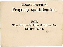 The Property Qualification for Colored Men