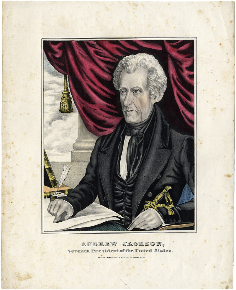 Andrew Jackson: Rare Presidential period print by Michelin