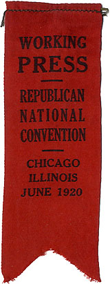 Charles Hughes: Working Press / Republican National Convention ribbon