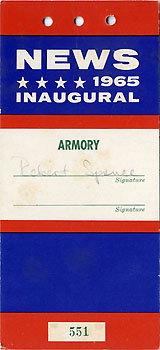 Lyndon Johnson: 1965 Inaugural NEWS credential