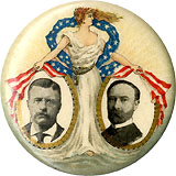 Roosevelt and Fairbanks: Classic Standing Liberty jugate pinback