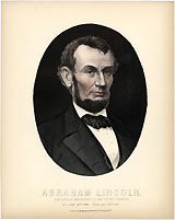 Abraham Lincoln: 1865 color-tinted memorial engraving
