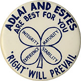 Stevenson and Kefauver: BEST FOR YOU / RIGHT WILL PREVAIL 4-leaf clover pinback