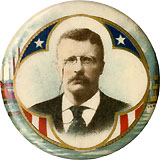 Theodore Roosevelt: Commerce & Industries chromo picture pinback