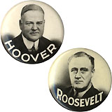 1932 Presidential Candidates: Matched photographic pinbacks