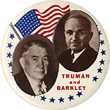 Truman and Barkley: Large American flag jugate pinback