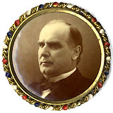 William McKinley: Large photographic pinback in fancy bezel