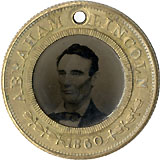 Lincoln and Hamlin: Choice ferrotype badge