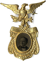 Samuel Tilden:  Superb OUR CENTENNIAL PRESIDENT ferrotype badge