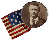 Theodore Roosevelt: 1904 photo button with flag ribbon
