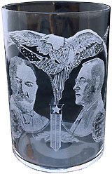 Taft and Sherman: Rare acid-etched glass tumbler