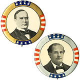 1900 Presidential Candidates: Matched pair of large pinbacks