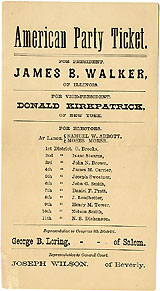 Walker and Kirkpatrick: Rare 1876 American Party electoral ticket