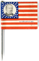Cleveland and Hendricks: Rare, mint paper flag pin