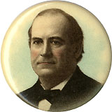 William Jennings Bryan: Chromo portrait pinback w/ advertising back paper