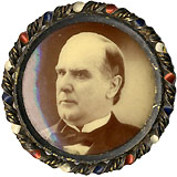 William McKinley: 1900 campaign sepia pinback in bezel