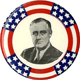 Franklin Roosevelt: Classic stars-and-stripes border pinback