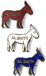 Al Smith: Enamel Democratic donkey color set