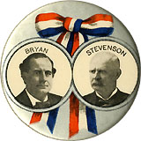 Bryan and Stevenson: Large patriotic ribbon jugate pinback