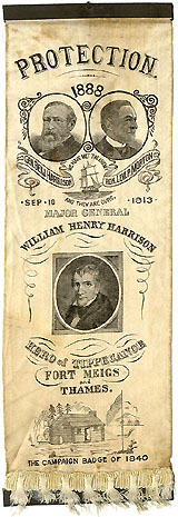 Harrison and Morton: Large jugate ribbon evoking William Henry Harrison campaign