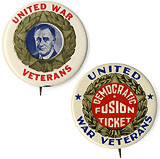 Franklin Roosevelt: United War Veterans pinbacks
