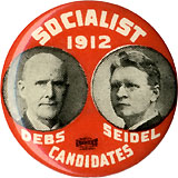 Debs and Seidel: Scarce Socialist Candidates jugate pinback