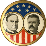 McKinley and Roosevelt: Classic stars-and-stripes jugate pinback