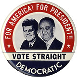 Kennedy and Johnson: For America! For President!! large jugate pinback