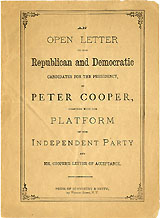 Peter Cooper: Rare 1876 Independent Party presidential campaign pamphlet