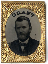 Ulysses Grant: Fine ferrotype portrait badge