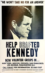 Edward Kennedy: Help DrafTED Kennedy 1972 Democratic primary campaign poster