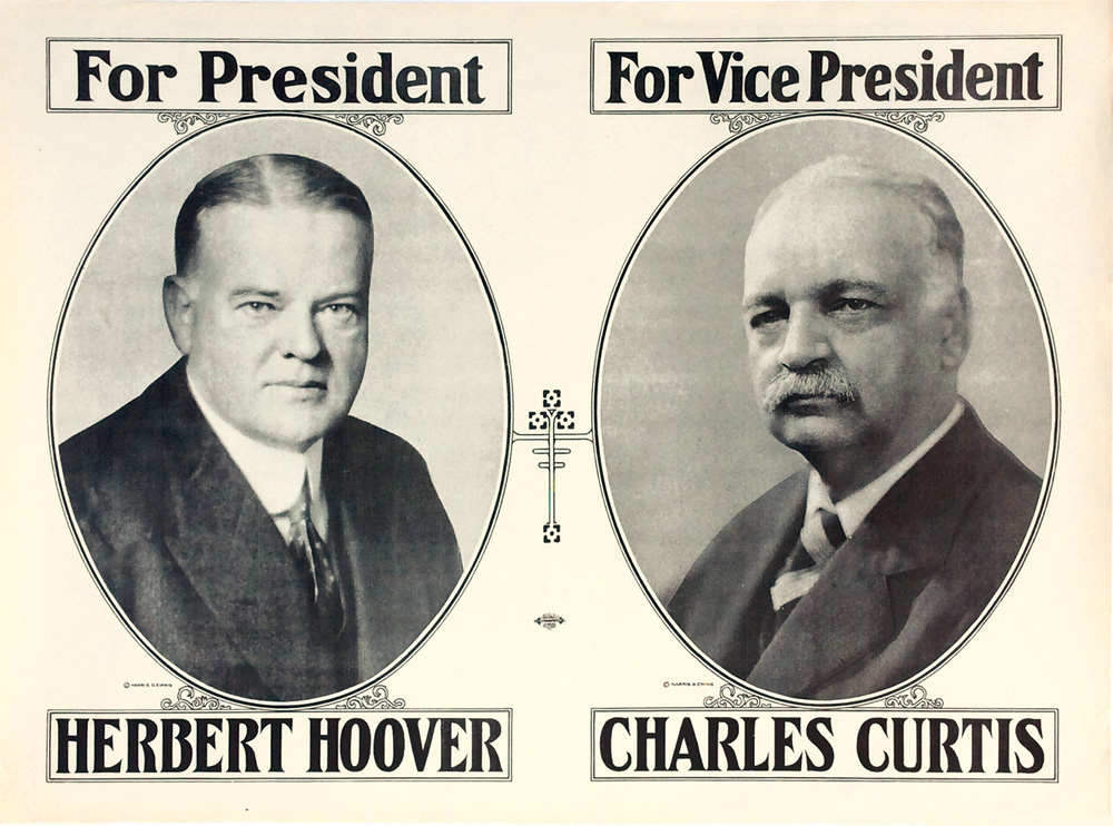 Hoover and Curtis: Large jugate campaign poster
