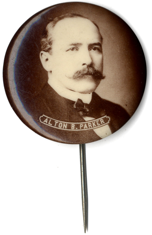 Alton B. Parker: Uncommon sepia photo pinback