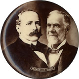 Parker and Davis: Ultra fine sepia photo jugate pinback