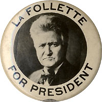 Robert LaFollette: Photographic picture pinback