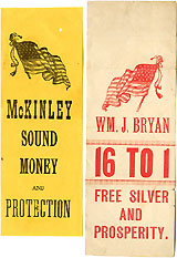 McKinley and Bryan: Paper ribbons with American flags