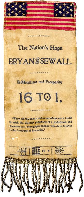 Bryan and Sewall: The Nation's Hope American flag slogans large ribbon