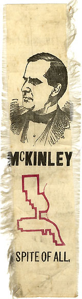 William McKinley: Rare SPITE OF ALL gerrymandered district ribbon